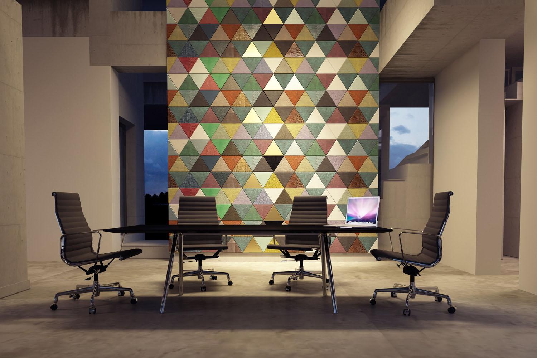 Pareti Colorate Ufficio : Office Leather Wall Covering