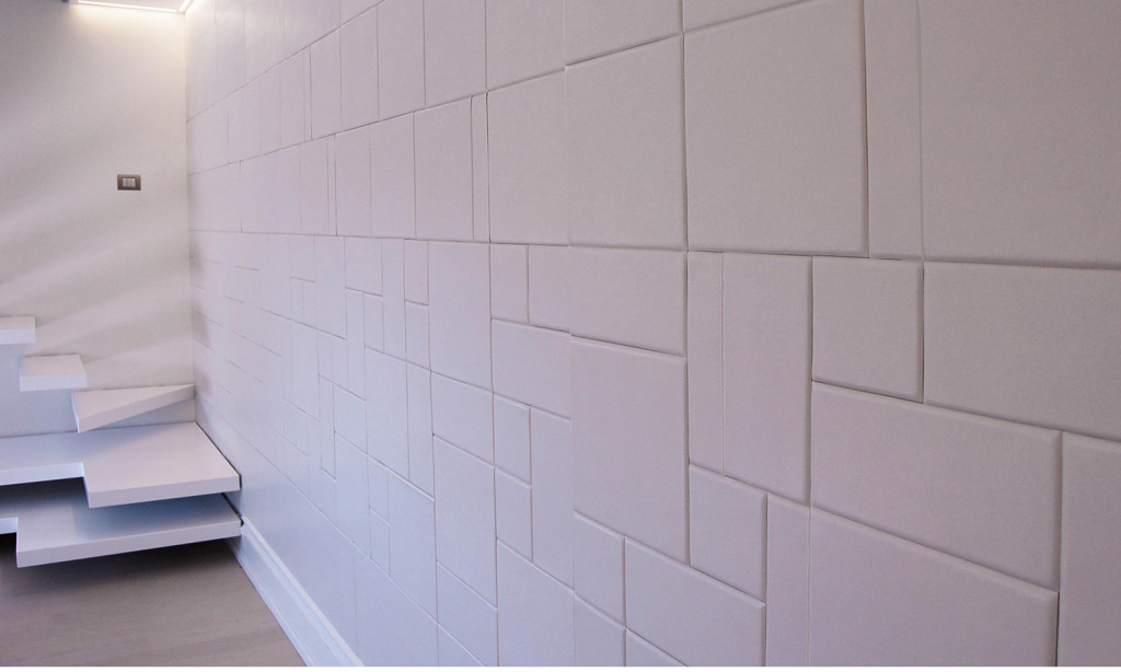 Lapèlle leather tiles white composition