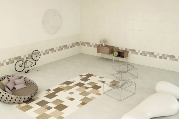 """Hobby room"" with Lapèlle leather tiles"
