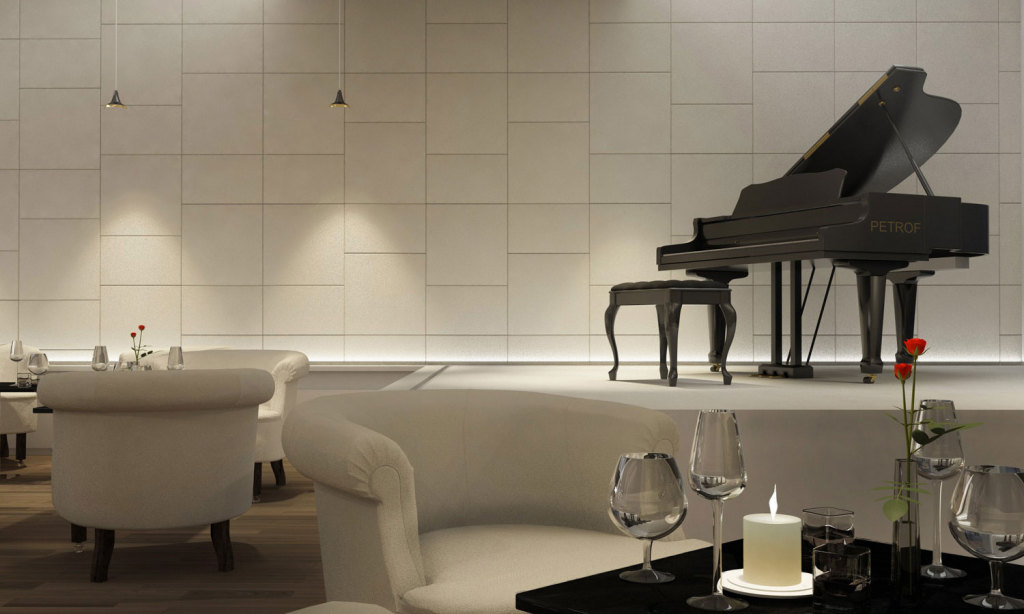 Lapelle Design leather tiles used for their soundproof power in a music hall of an hotel