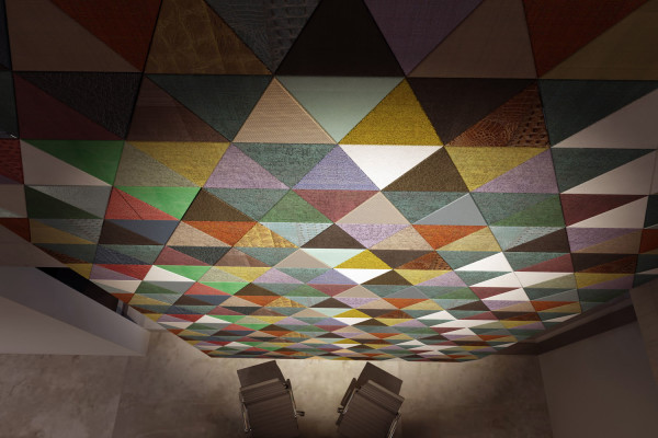 Triangular and colorful composition with Lapèlle leather tiles