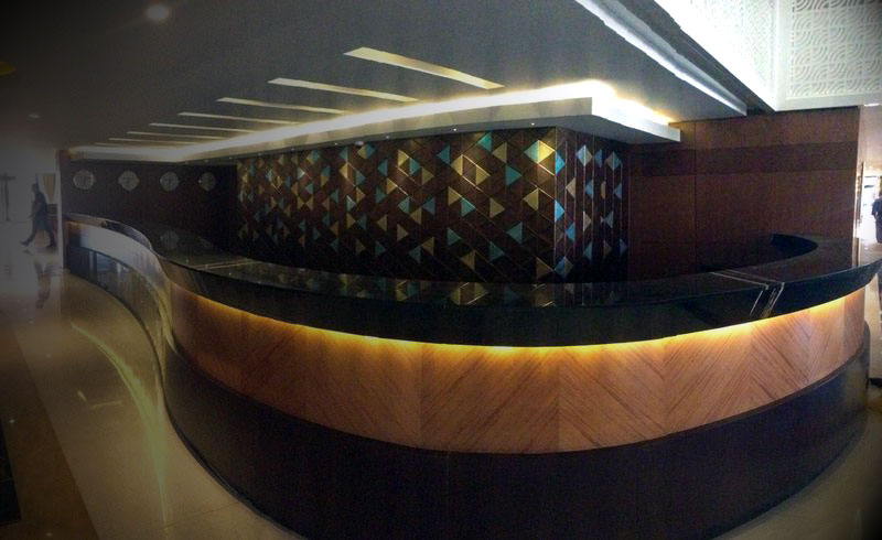 The leather tiles realize the Babylon Hotel in Baghdad a mosaic elegant and exclusive design.