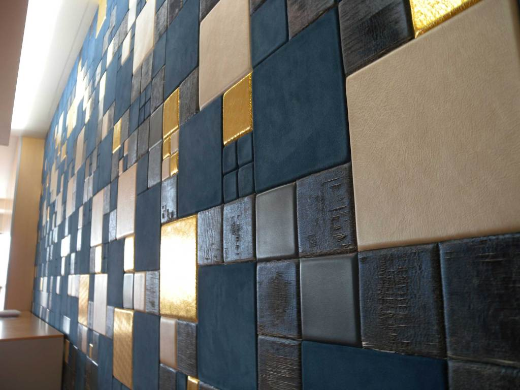 Leather tiles with different shapes and effects