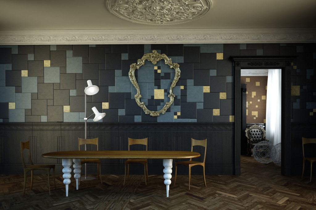 Elengant Lapèlle leather tiles composition for hotel lounge