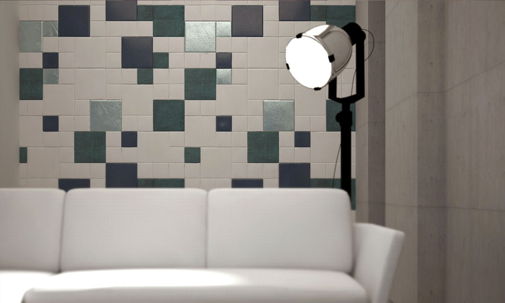 Artistic mosaic of Lapèlle leather tiles for office