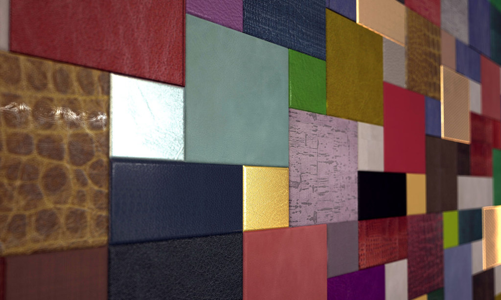 Squared colorful composition with Lapèlle leather tiles