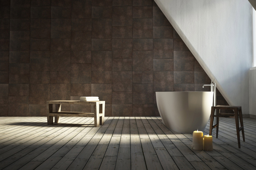 Bathroom renovation with Lapèlle leather tiles Luna collection