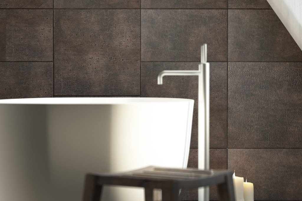 Lapèlle leather tiles for bathroom: detail collection Luna