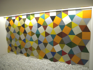 Lapèlle leather tiles create a multicolor composition