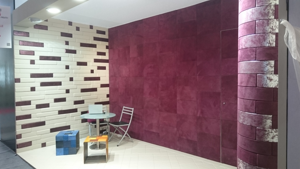 Leather tiles for wall and floor